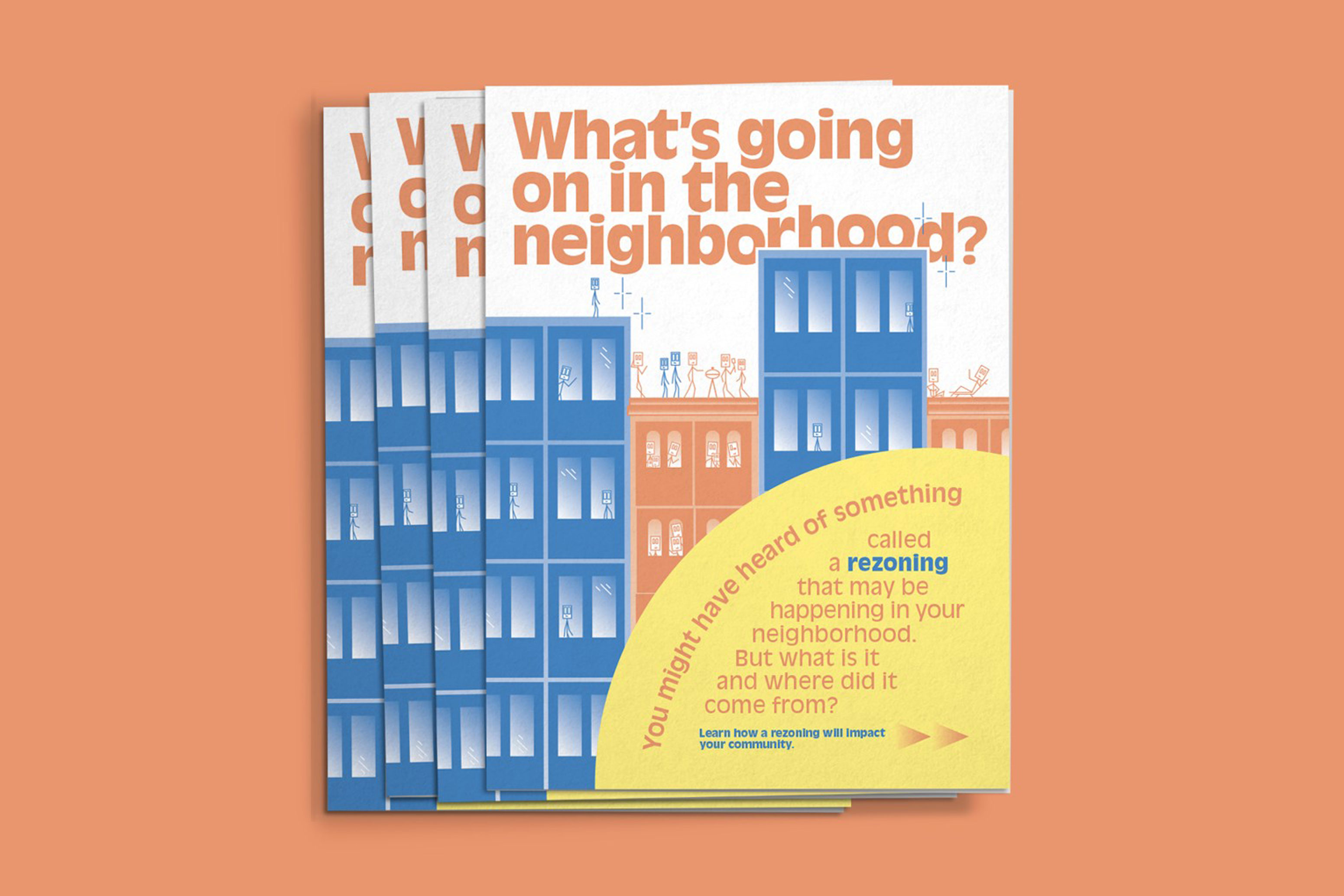 "Cover of poster pamphlet ""What's Going In On the Neighborhood?"""